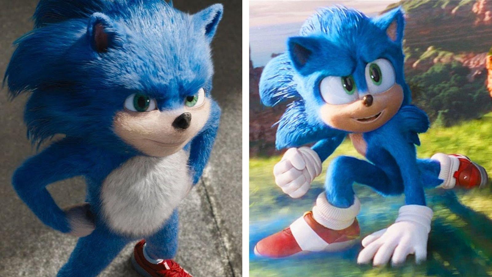 Muestra del valle inquietante con la comparativa entre los dos modelos de la película de Sonic
