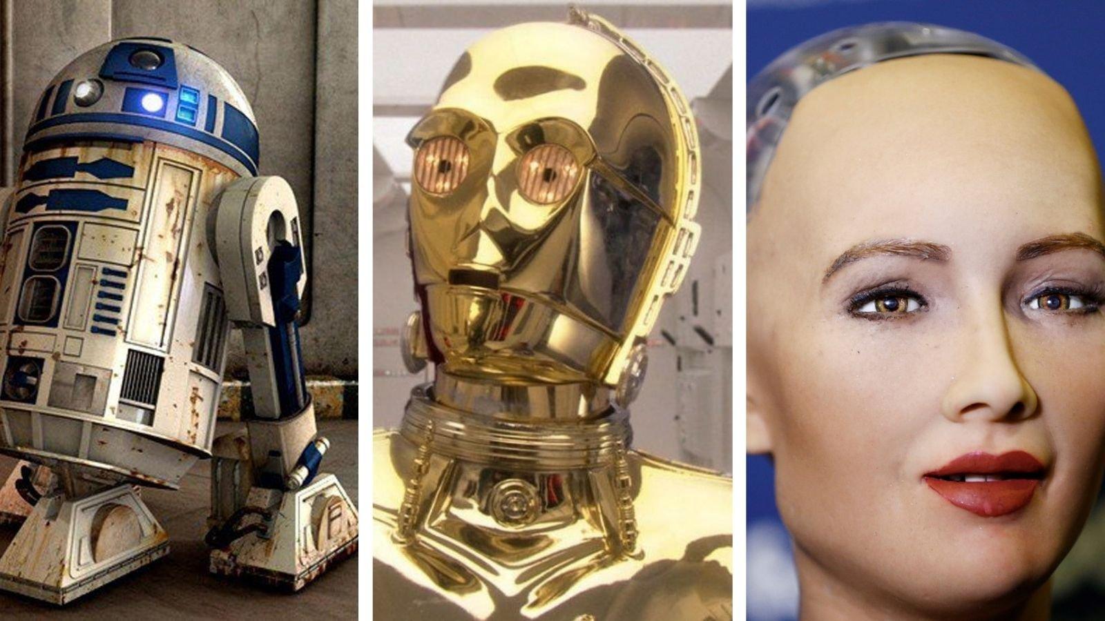 Comparativa del valle inquietante entre R2-D2, C-3PO y Sophia